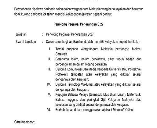 Iklan Jawatan Kosong Di Amanah Khairat Yayasan Budaya Melayu Sarawak