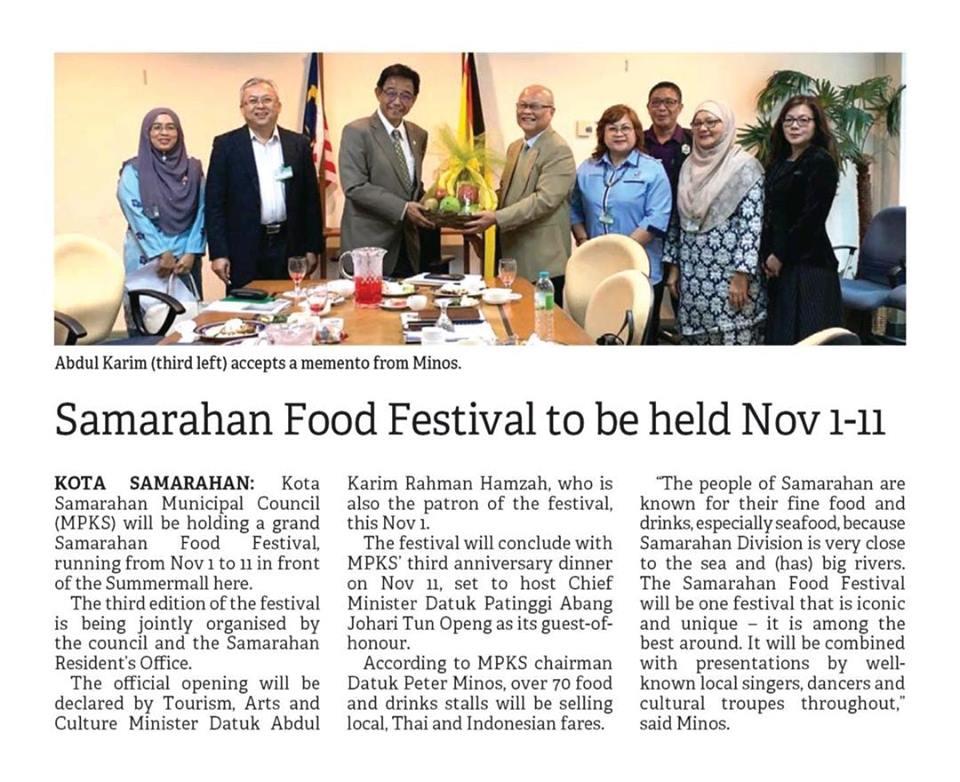 Majlis Perbandaran Kota Samarahan akan menganjurkan 'Samarahan Food Festival' pada 1hb sehingga 11hb November di Summer Mall